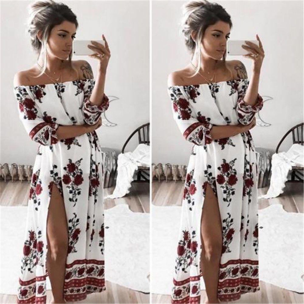 8a0ca4b22602 Fashion Women Summer Boho Beach Dress Evening Cocktail Party Long Maxi Dress