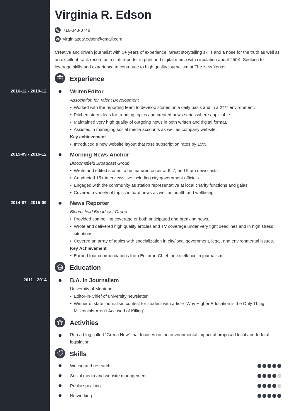 journalism resume example template concept in 2020