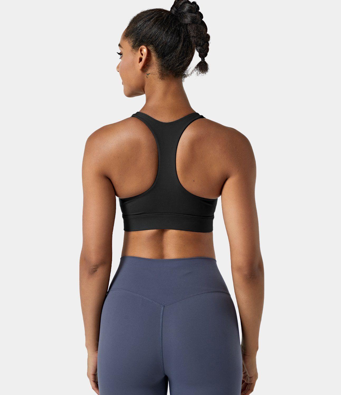 Women's Medium Support Raceback Front Zipper Plain Sports Bra. Nylon-69%, Spandex-31%, Nylon, Spandex. Sweat-wicking, Breathable, 4-way