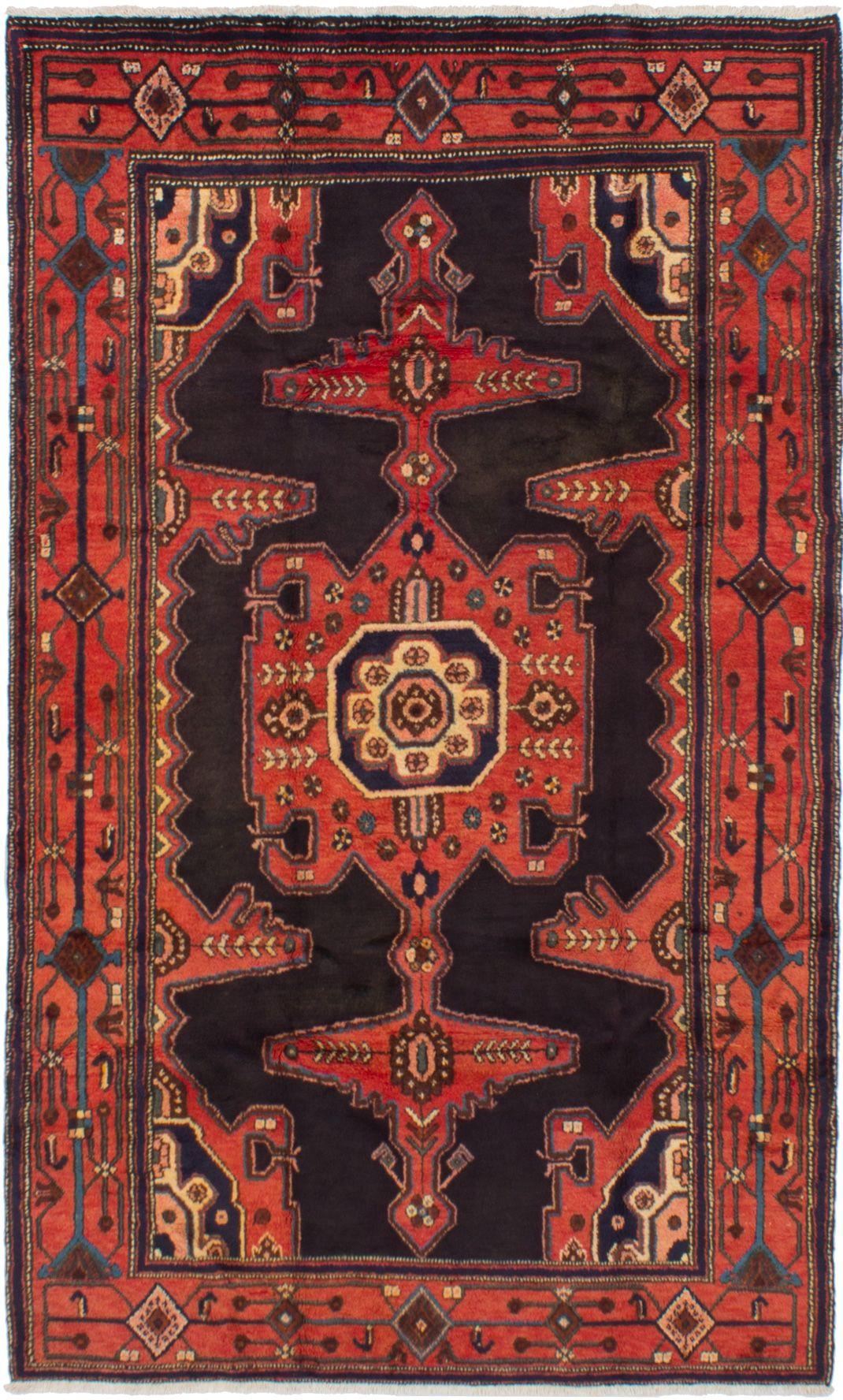 4 7 X 7 8 Hand Knotted Senneh Dark Copper Dark Navy Wool Rug