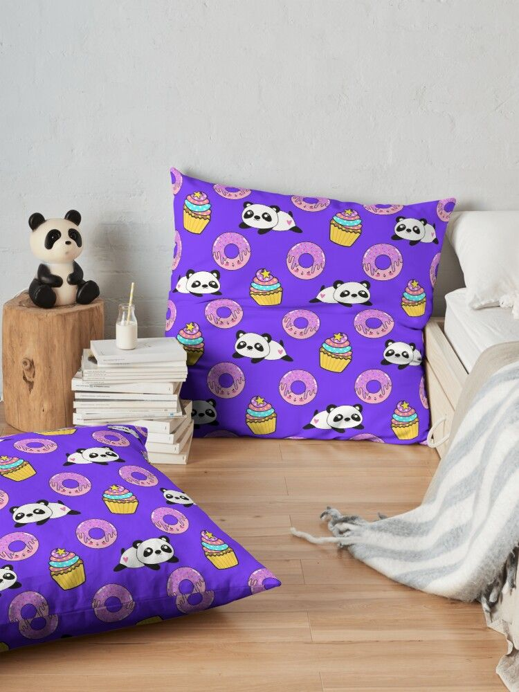 'Cute funny Kawaii chibi little playful baby panda bears, happy sweet pink donuts and adorable yummy cupcakes violet purple pattern design. Nursery decor.' Floor Pillow by MerveilleDesign