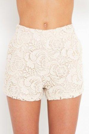 96cf59b82b16 Weiße Spitzen-shorts, Spitzenhosen, Kurze Hose Leder, Shorts Mit Hoher  Taille,