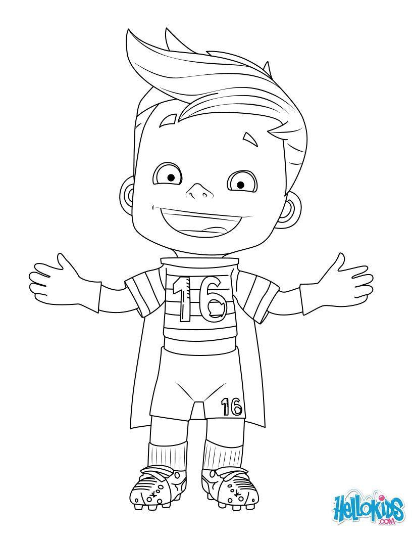 Un coloriage d un petit joueur de foot Un super coloriage sur le foot
