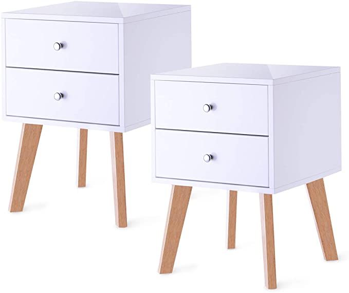 Amazon Com Taohfe Nightstand White Night Stand Side End Wood