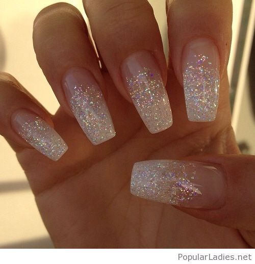Long White Glitter Nails