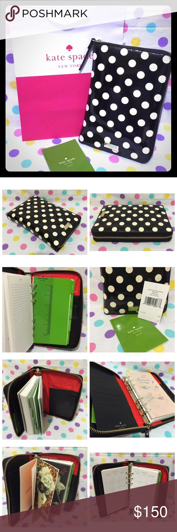 Kate Spade Personal Organizer Planner Carlisle St AUTHENTIC KATE SPADE CARLISLE STREET PATENT BLACK AND CREAM POLKA DOT LEATHER  ZIP AROUND PERSONAL ORGANIZER/PLANNER  FOR AUGUST 2016 - DECEMBER 2017  INSERTS INCLUDE NOTES, TO DO, BIRTHDAYS,RESTAURANTS, AND ADDRESSES!  Patent cowhide with smooth cowhide trim custom woven lining 14-karat light gold plated hardware zip around closure slide pocket and pen slot 8 credit card slots six ring binder Please use the offer button to bargain on the…
