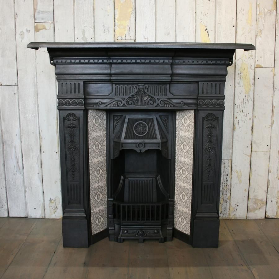 Original Antique Victorian Cast Iron Fireplace With Tiles At Thearchitecturalforum Com Browse Our Huge Selection Fireplace Tile Fireplace Cast Iron Fireplace