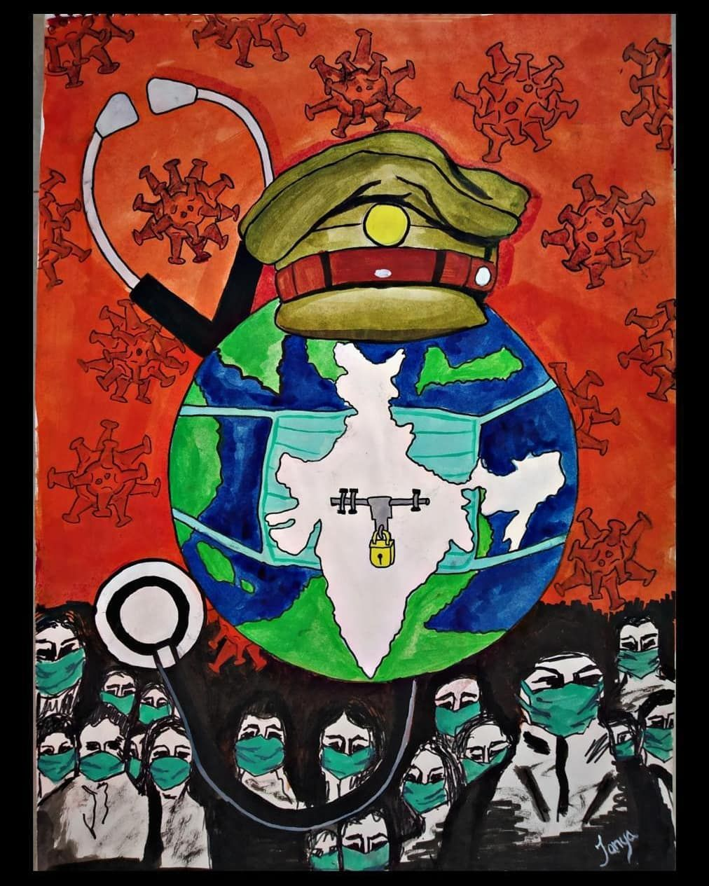 Artist Tanya Rastogi Title Unity To Save Humanity Coronavirusoutbreak Corona Artlovers Artchal In 2020 Art Poster Design Drawing Competition Environmental Art