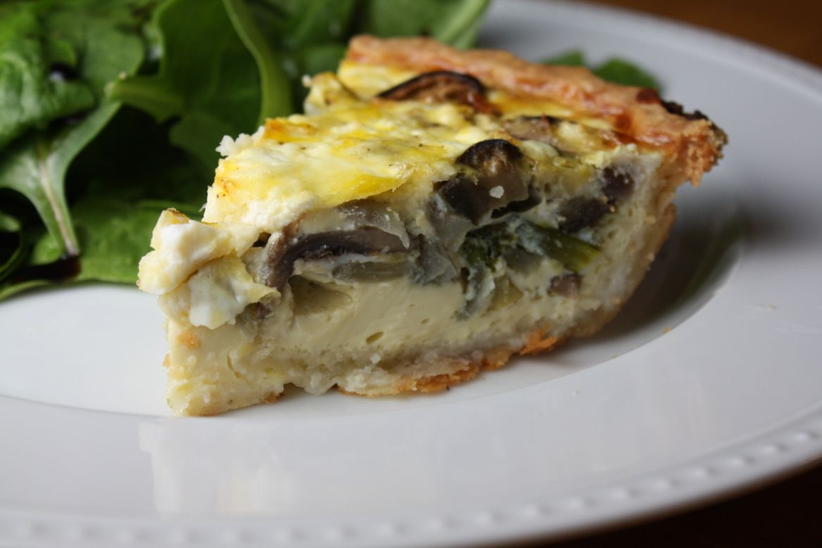 Roasted vegetable and goat cheese quiche
