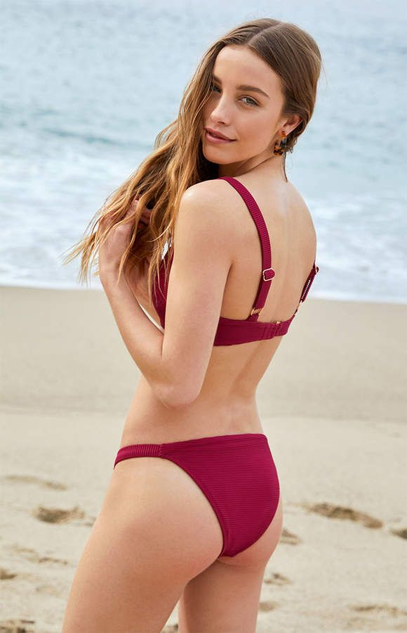 9a8275e792 La Hearts Sydney Ribbed Cheeky Burgndy Bikini Bottom