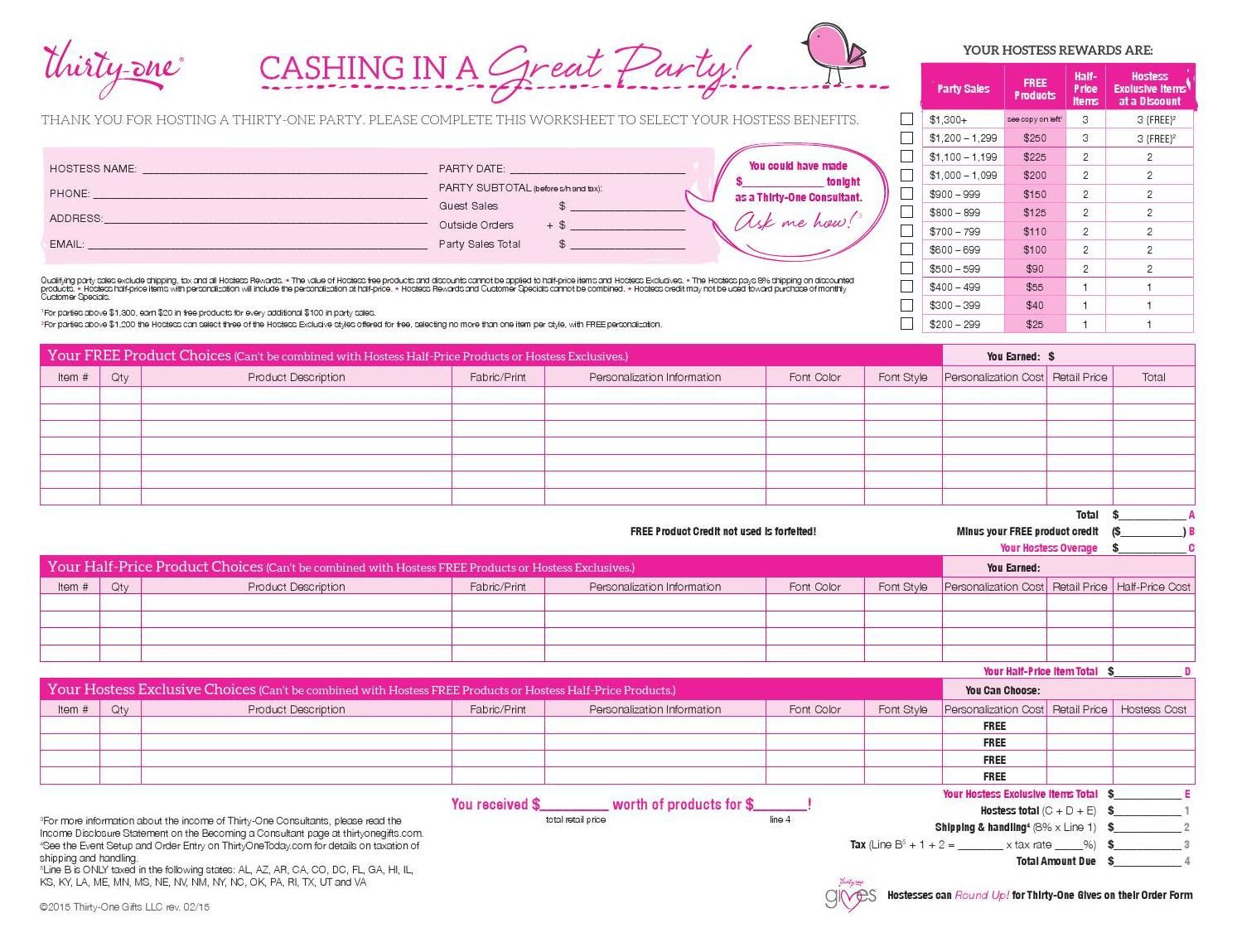 Hostess Order Worksheet Us