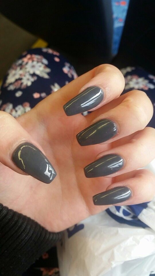 Grey Coffin Acrylic Gel Nails Nails Grunge Nails Grey