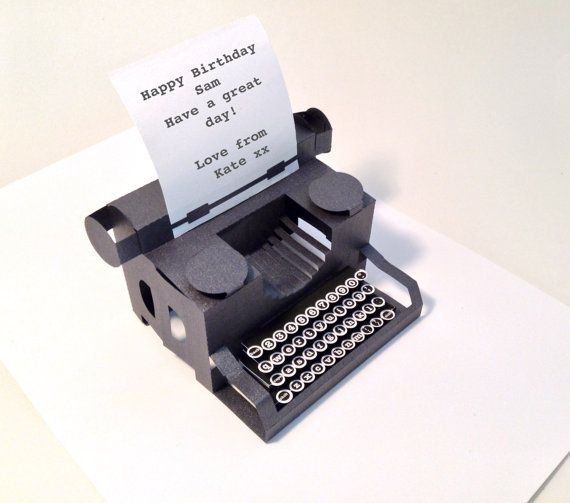 Personalised Typewriter Popup Card With Keys Etsy Typewriter Pop Up Cards Vintage Typewriters