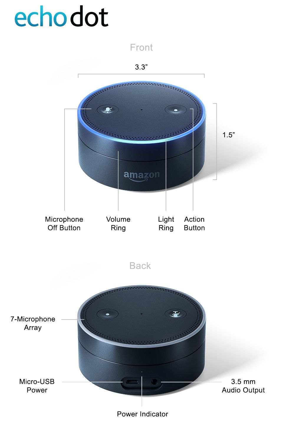 amazon echo dot 2nd generation comes in black or white. Black Bedroom Furniture Sets. Home Design Ideas