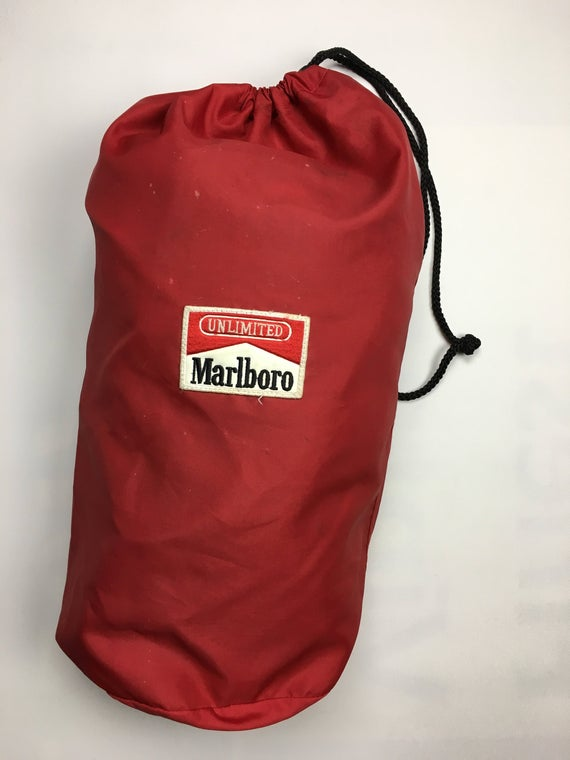 1990s Vintage Marlboro Cigarettes String Bag - 90s Marlboro Gym Back