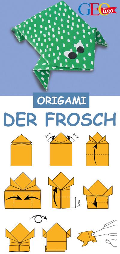 Mit dieser Origami-Technik faltet ihr einen Frosch. Die ganze Anleitung liefert euch GEOlino! #basteln #origami #falten #frosch #bastelnmitkindern #papier #diy #origamianleitungen