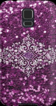 #PurpleFauxGlitter #SilverJewelDesign #SamsungGalaxyPhoneCase by #MoonDreamsMusic
