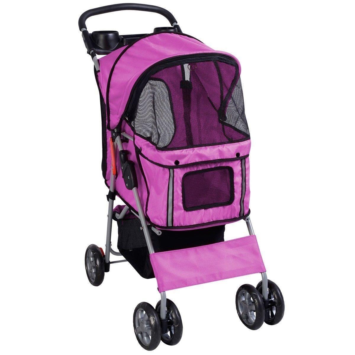 Pet Stroller Cat Dog 4 Wheels Stroller Travel Folding Easy