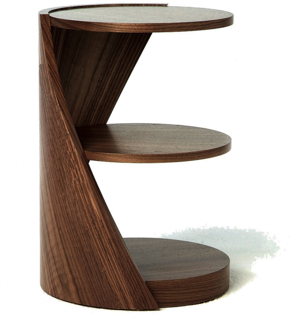 Inspiring Brown Modern Wood Small Table Design With Round Style And Three Levels Storage Wooden