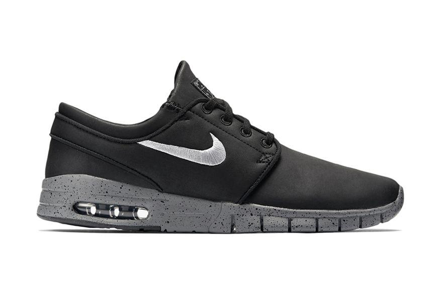 Nike Sb Stefan Janoski Max Leather Qs Black Metallic Cool Grey Sb Stefan Janoski Max Stefan Janoski Max Nike Sb