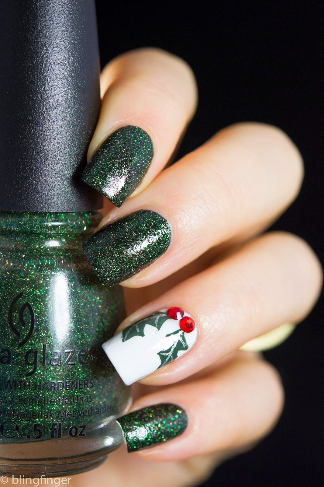 """2019 Nail Trends: Blingfinger: """" Christmas Holly Tutorial On The Blog"""