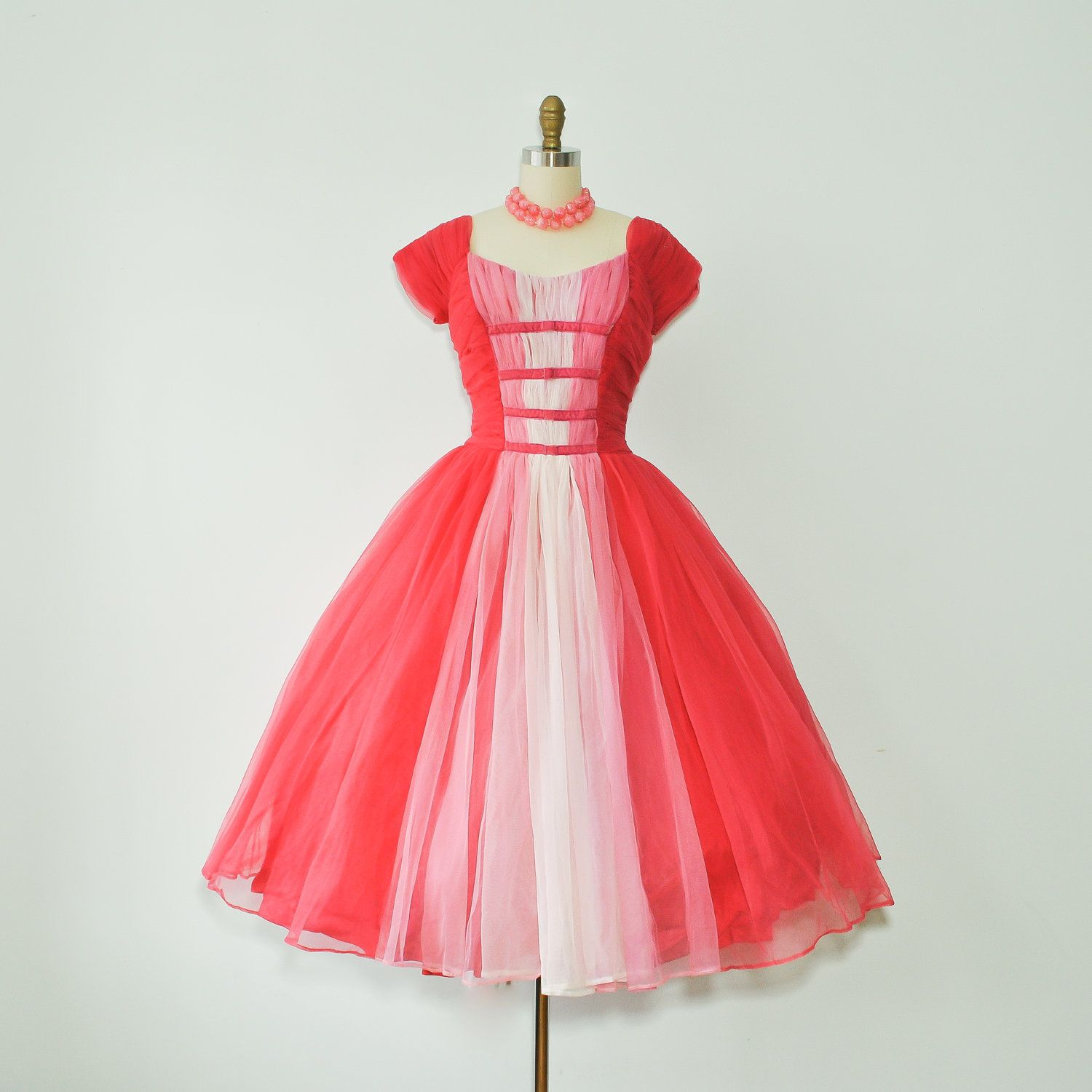 vintage 1950s pink chiffon tulle full skirt party dress / 50s dress ...