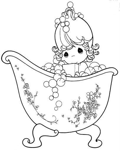 Niña bañandose para colorear | Precious moments | Pinterest ...