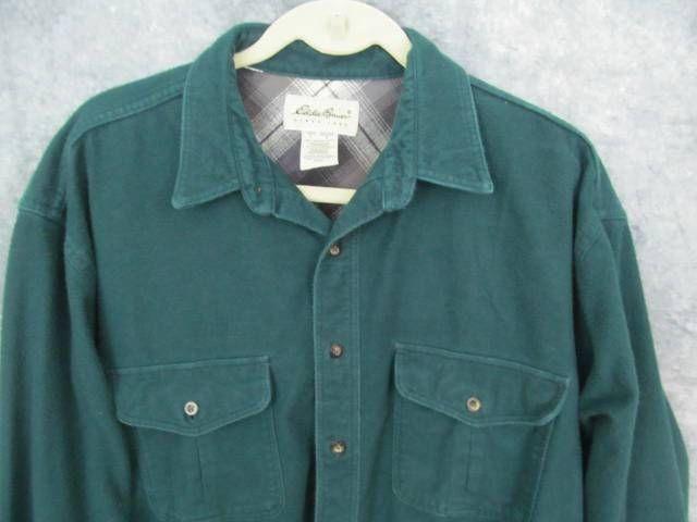 """Eddie Bauer Green Flannel Shirt L Lrg Tall LT 52"""" Chest Long Sleeve 2 Pockets #EddieBauer #ButtonFront"""