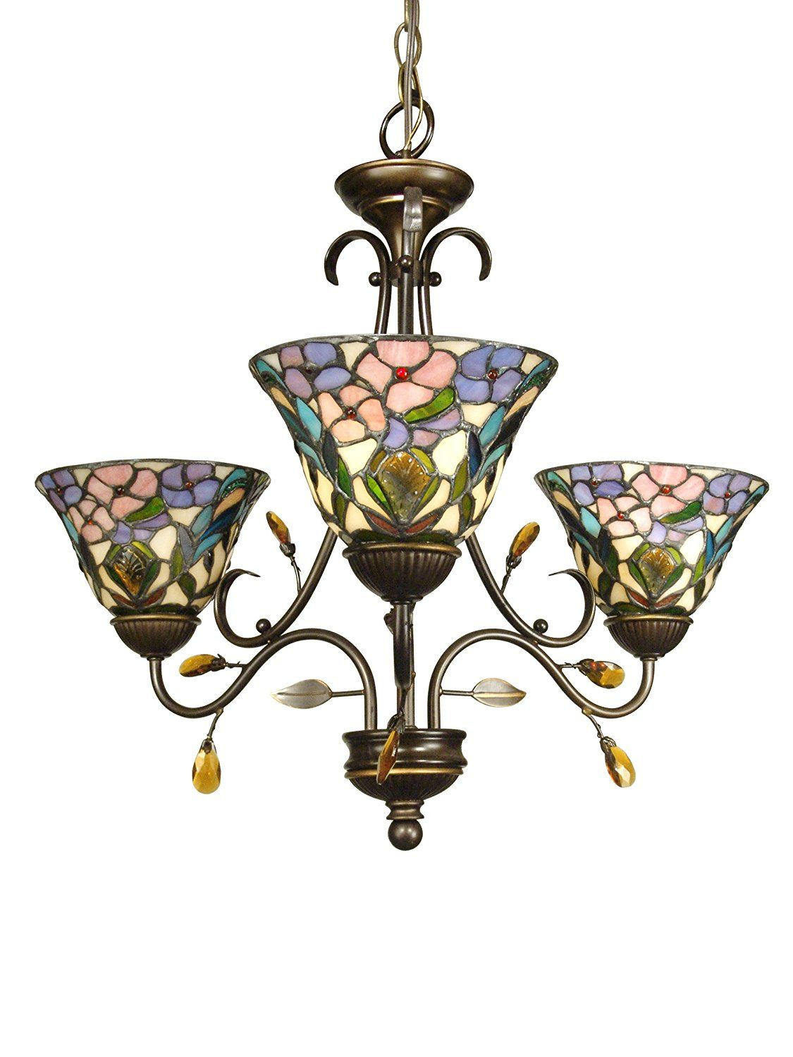 Dale Tiffany TH90214 3 Light Crystal Peony Chandelier, Antique Golden Sand  And Art Glass