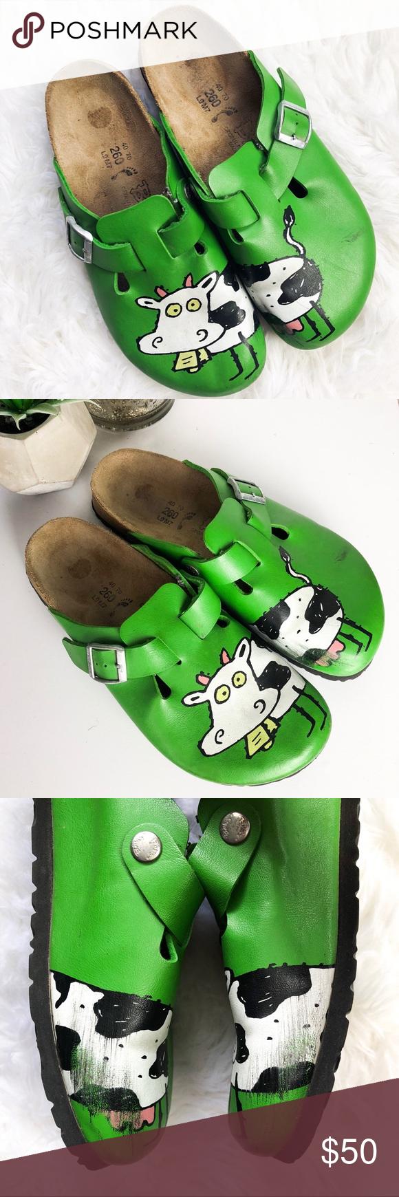 Birkenstock | RARE Birki's Green Cow Clog Sandals • rare