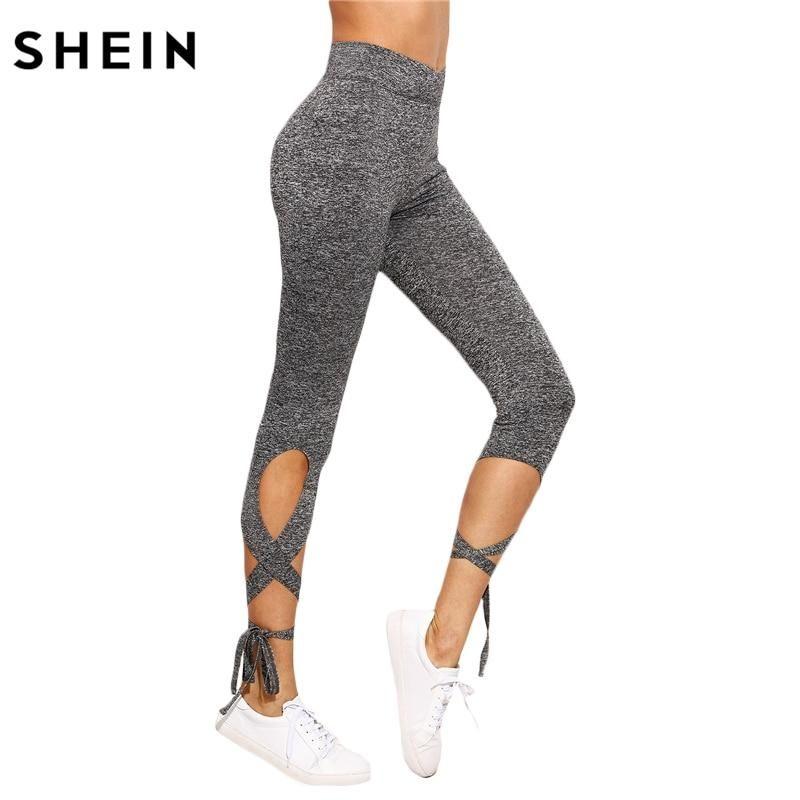 14c8a3853f422 SHEIN High Waist Crisscross Tie Leggings | fashion in 2018 ...