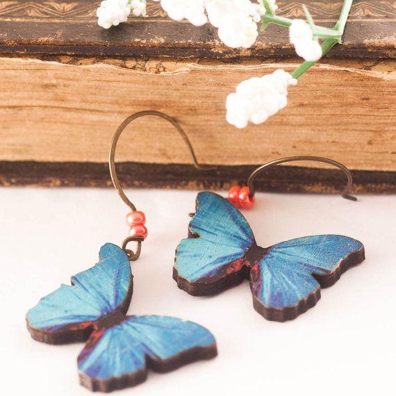 BUTTERFLY WOOD Earrings Wood Earrings Butterfly Earrings by dauz
