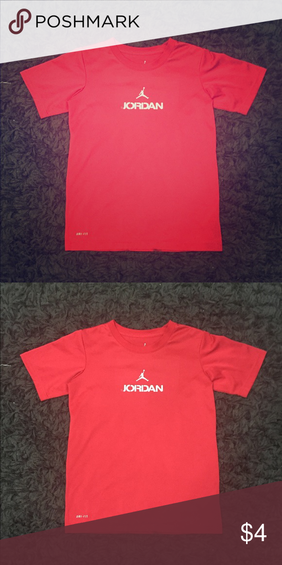 b64528db7bf0f1 Boy s Red Jordan Dri-Fit T-Shirt PRODUCT DETAILS  (used condition)   Just  missing piece of letter  J