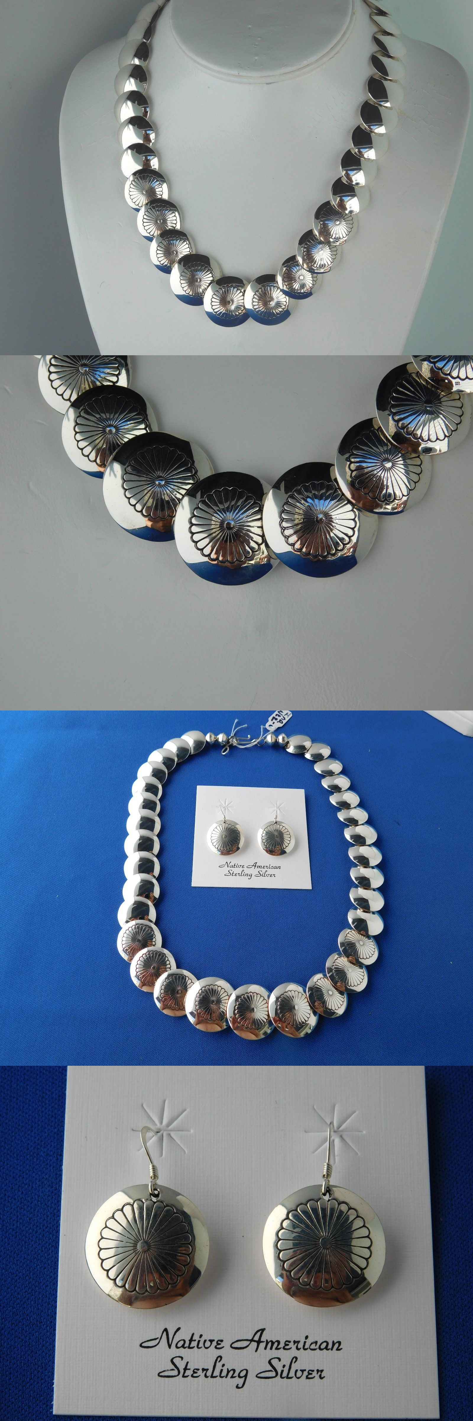 Necklaces and Pendants 98498: Native American Navajo Sterling Silver Disc Necklace And Earrings Set BUY IT NOW ONLY: $249.0