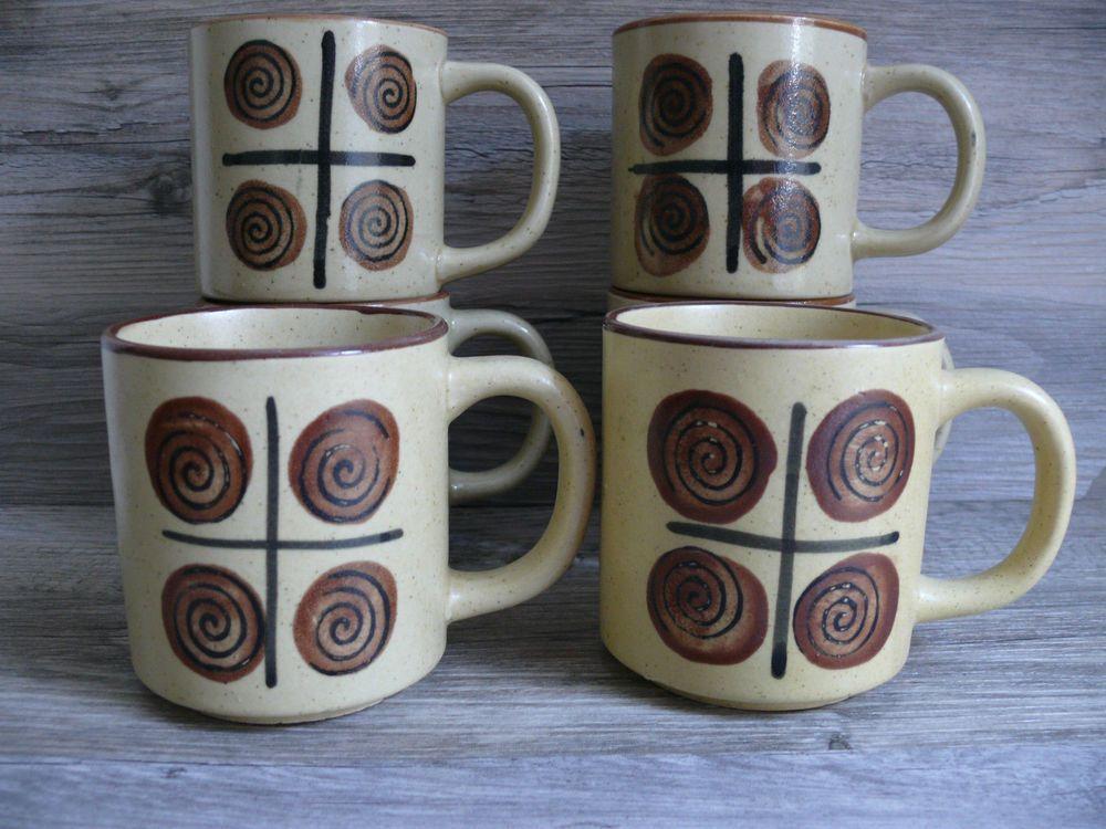 Six Vintage Stoneware Pottery Mugs Swirl Geometric Design Korea Dishwasher Safe $38.99