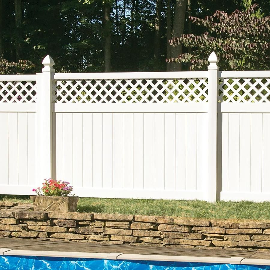 Freedom Ready To Assemble Conway 6 Ft H X 8 Ft W White Vinyl Lattice Top Fence Panel Lowes Com Vinyl Fence Panels Fence With Lattice Top Vinyl Fence