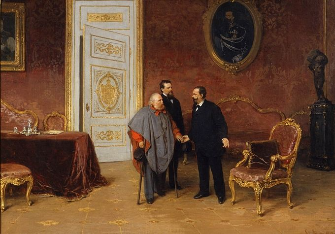 Gerolamo Induno, La visita di Garibaldi a Vittorio Emanuele II, 1879, olio su tela  Milano, Museo del Risorgimento