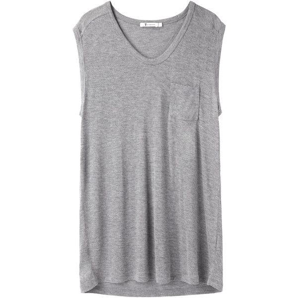 T by Alexander Wang Classic Muscle Tee (5,780 INR) ❤ liked on Polyvore featuring tops, shirts, tank tops, t-shirts, sleeveless muscle t shirts, relaxed fit shirt, heather grey shirt, muscle tee shirts and sleeveless tops