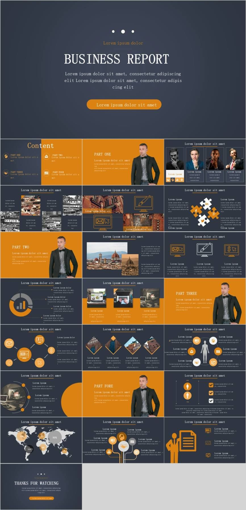 Orange business report chart PowerPoint template