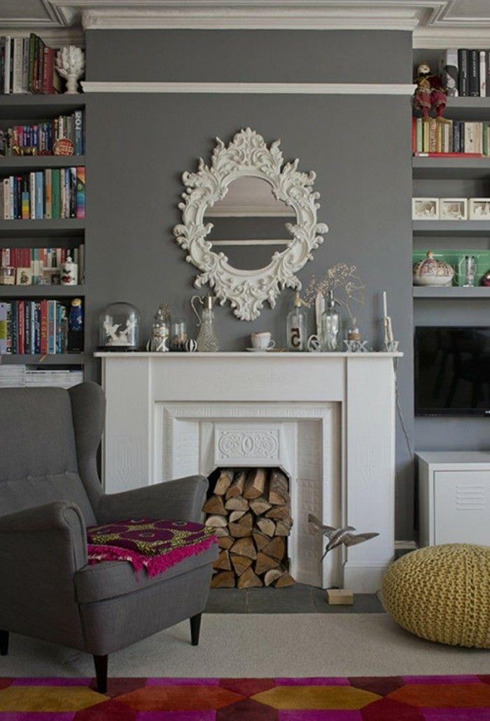 Ideen Fr Wandgestaltung Wohnideen Wohnzimmer Wandspiegel Kamin Farbiger Teppich