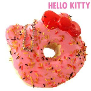 Hello Kitty Donut Squishy Size : Amazon.com: Sanrio Hello Kitty Squishy Donut Ball Chain (Strawberry with Chocolate Sprinkler ...