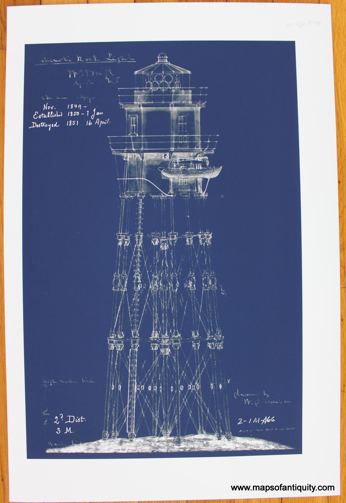 A great fathers day gift blueprint of minots rock light minots blueprint of minots rock light minots ledge light malvernweather Choice Image