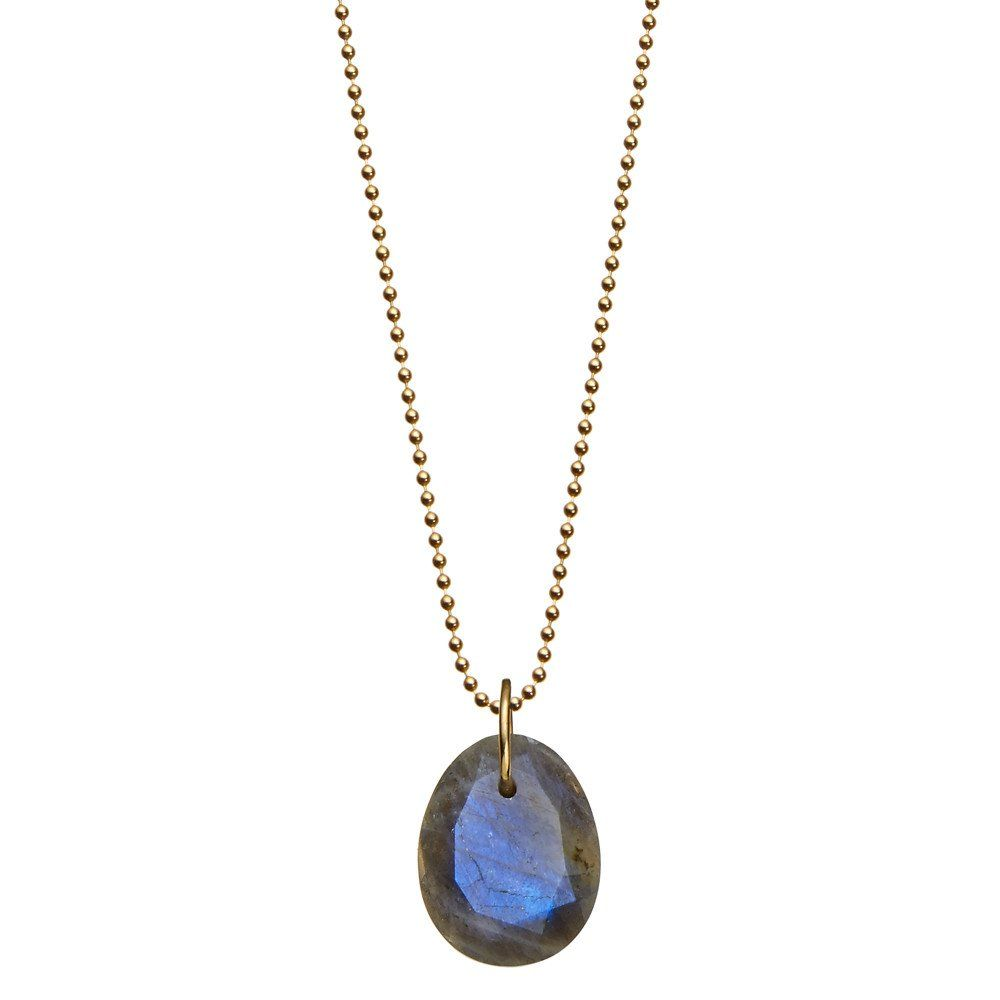 214 Silver Chain Labradorite Crystal Necklace Pendant