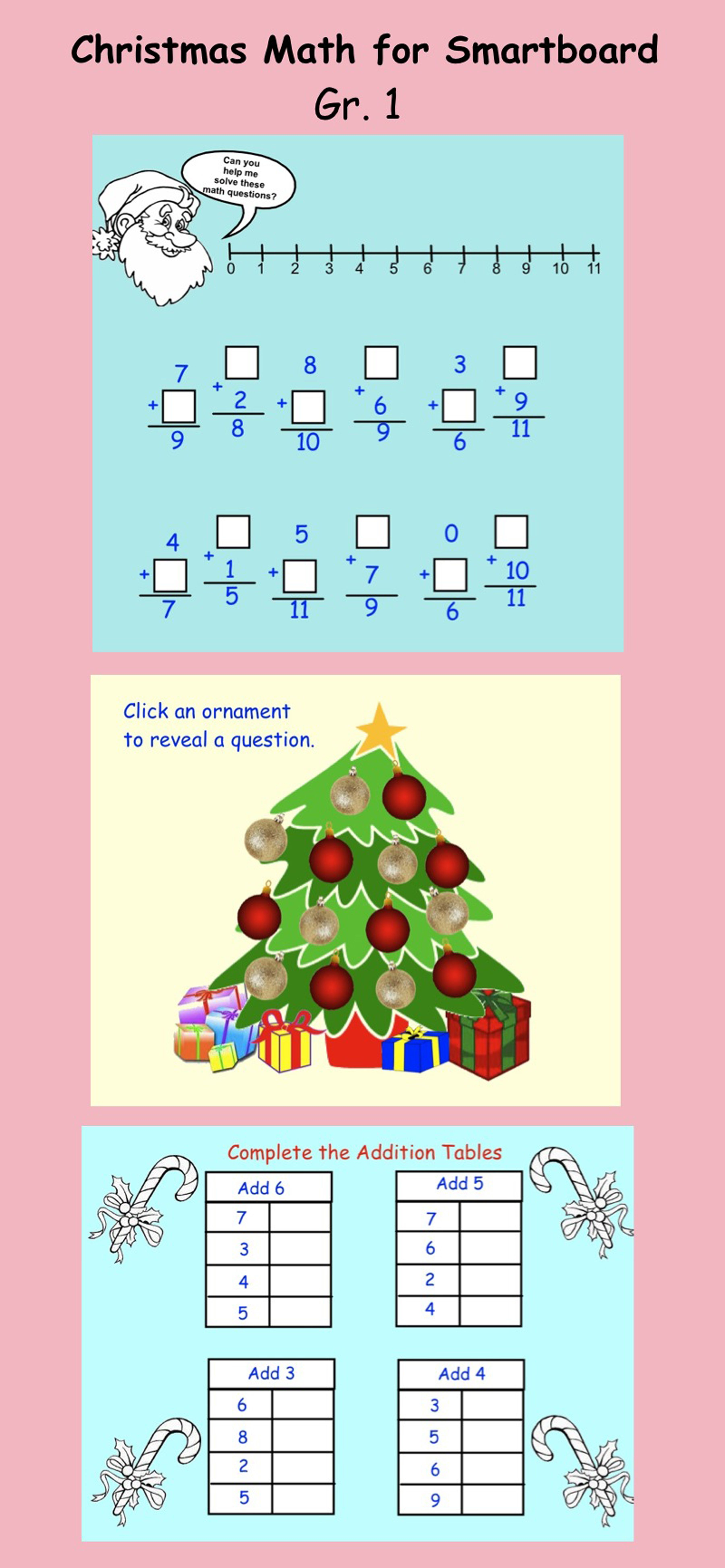 Smartboard Christmas Grade one math Interactive lesson 8 pages