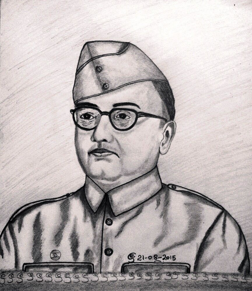 Netaji subhas chandra bose pencil drawing in 2019 pencil