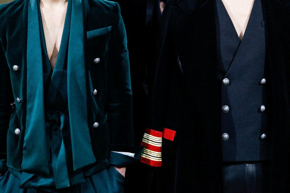 Backstage Balmain AW15 paris jackets dark green blue velvet