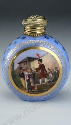 RARE ANTIQUE & VINTAGE SCENT PERFUME BOTTLES: c.1820 FRENCH HAND PAINTED PORCELAIN SCENT PERFUME BOTTLE, GOLD TOP. To visit my website click here: http://www.richardhoppe.co.uk or for help or information email us here: info@richardhoppe.co.uk