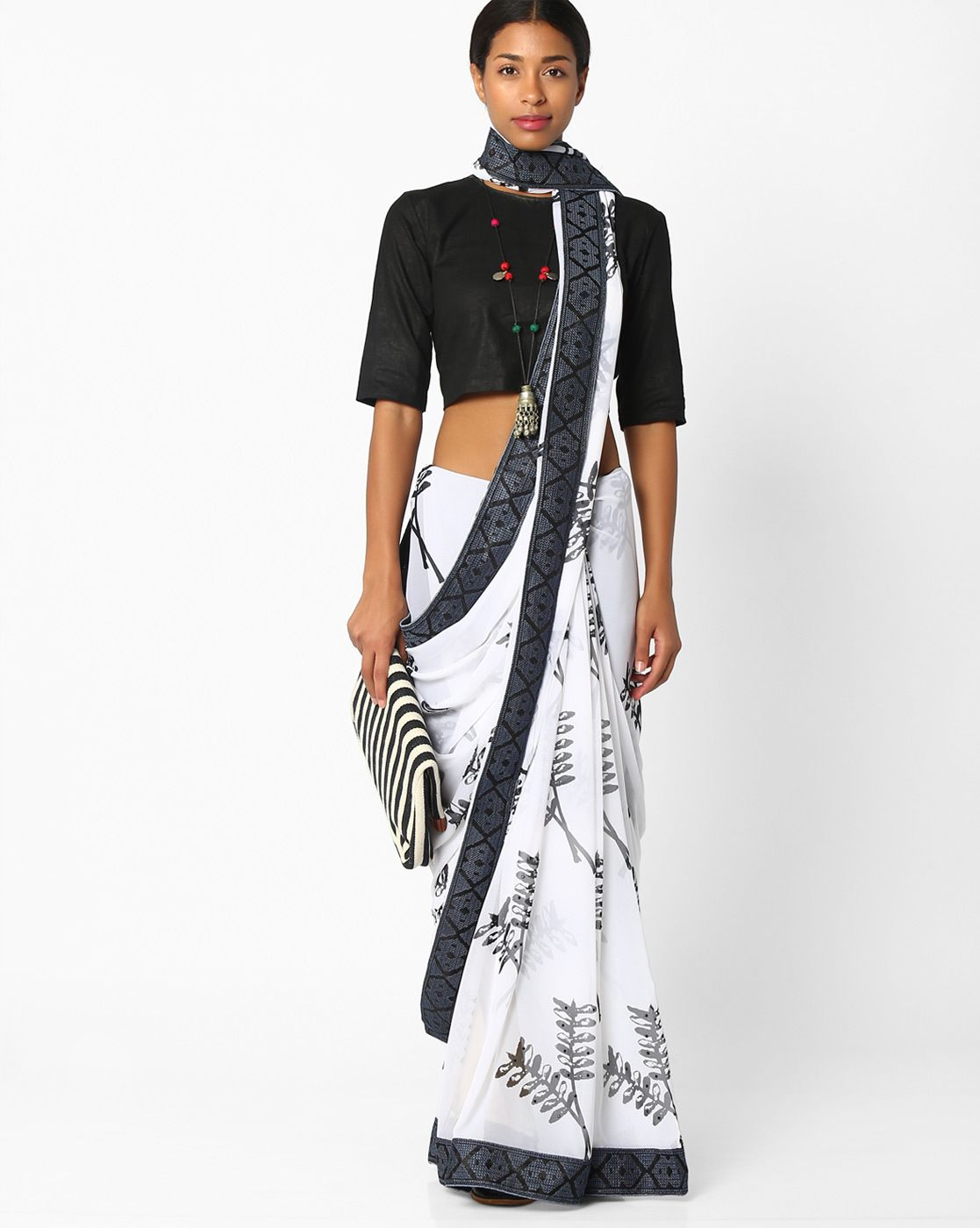 Amori White & Gray Blend & Poly Gerorgette Printed Saree with Contrast Border