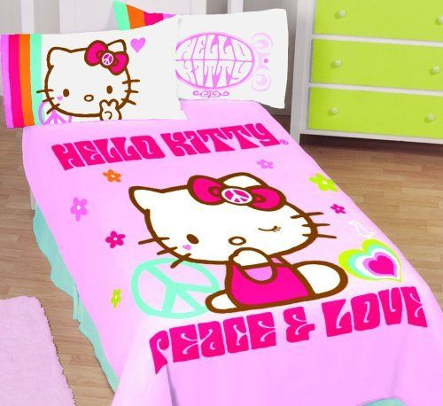 Hello Kitty Kitty Peaceful Twin Full Thoughts Blanket By Sanrio