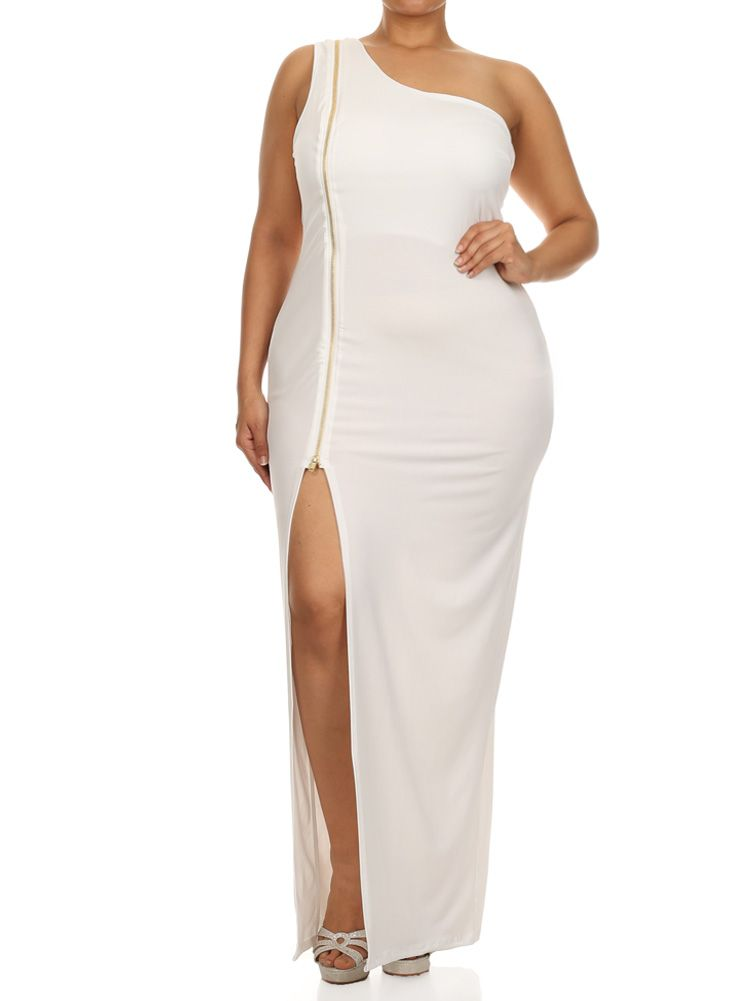 Plus Size Enticing One Shoulder Side Zipper White Maxi Dress